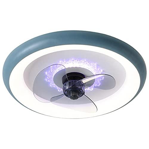 QJUZO 100W Ventilador De Techo con Mando A Distancia Y Luz, Lámpara De Techo Regulable para Comedor, Sala De Estar, Velocidad del Viento Ajustable, Ventilador Silencioso para Dormitorio Ø50CM,Azul