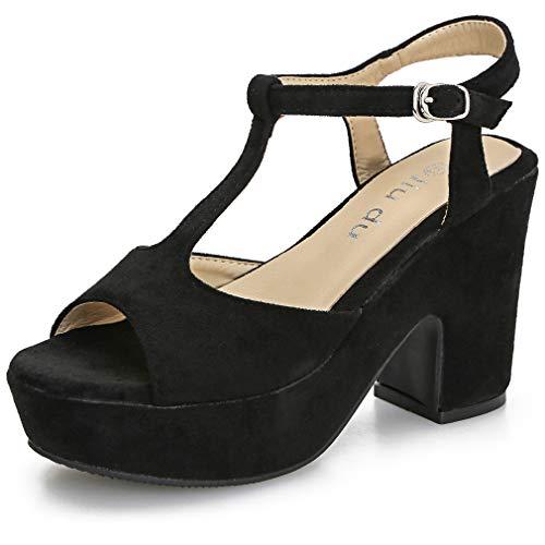 Women's T-Strap Platforms Wedges Sandals Suede Peep Toe Block Chunky High Heels Pumps Black Suede US7.5 CN38