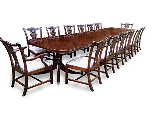 Großer Esstisch im Grand Regency-Stil, aus brasilianischem Mahagoni, mit 14 Esszimmerstühlen im Chippendale-Stil Pro French poliert
