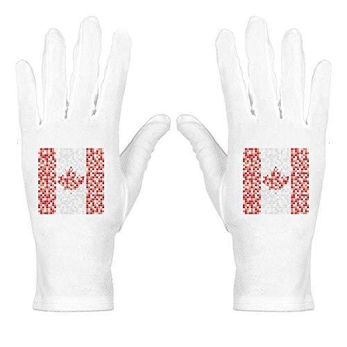 Handschuhe mit Kanada-Nationalflagge, Ahornblatt-Mosaik, weiß, Nylon, Etiquette, Handgelenkschutz