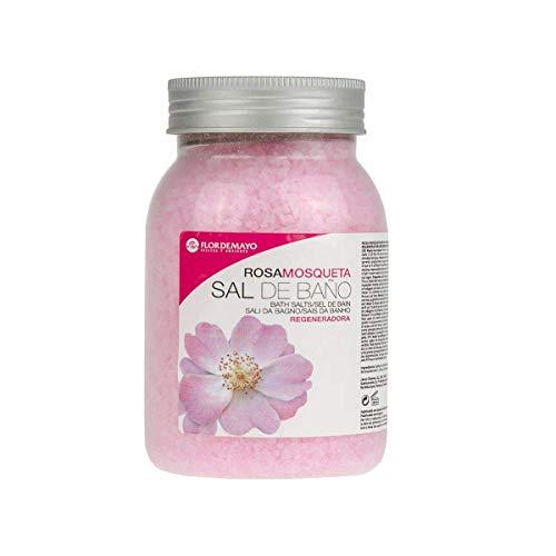 Flor de Mayo, Sal de Baño Mineral Aromática Rosa Mosqueta, Spa Belleza Relajante para Pedicura, Jacuzzi, Bañera. Bote 650g.