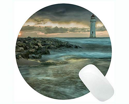 Yanteng Round Mouse Pads,Lighthouse Sea Cliffs Water Away Road Mouse pad