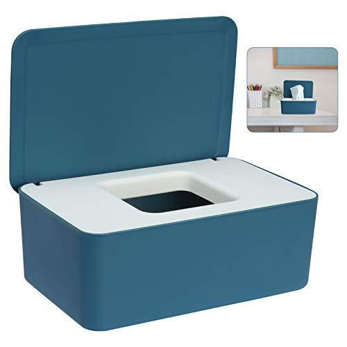 Sinwind Feuchttücher-Box, Aufbewahrungsbox für Feuchttücher, Baby Feuchttücherbox, Toilettenpapier Box, Taschentuchhalter, Spenderhalter mit Deckel für Zuhause und Büro (Blau-Weiß)