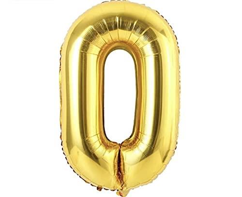 Globos de Cumpleaños Número 0 Dorado -  Globos Grandes 0 1 2 3 4 5 6 7 8 9 -  Globos Numeros Gigantes para Fiestas,  Cumpleaños,  Aniversarios,  Banquetes,  Comunión,  Graduaciones,  Fin de Año
