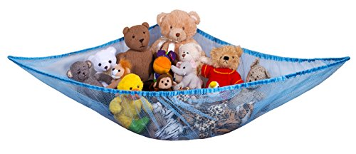 Jumbo Toy Hammock - Organize stuffed animals or children s toys with the mesh hammock. Looks great with any décor while neatly organizing kid's toys and stuffed animals. Expands to 5.5 feet - Blue