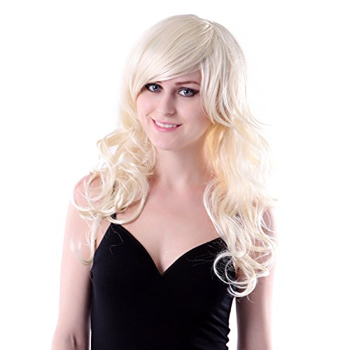 HDE Long Blonde Wig with Bangs Wavy Curly Cosplay Wigs for Women