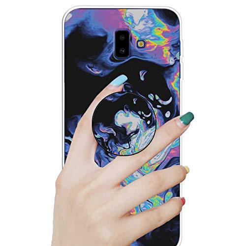 Nadoli Marmor Hülle für Galaxy J6 Plus 2018,Prämie Glatt Flexibel Weich Bunt Marmor Muster Ultra Dünn Gummi Silikon Handyhülle Schutzhülle mit Ständer für Samsung Galaxy J6 Plus 2018