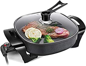 HUIDANGJIA Electric Skillet Non Stick Electric Frying Pan, Christmas Gift, 12 Inch Electric Griddle with Glass Lid ,1360 watts,16