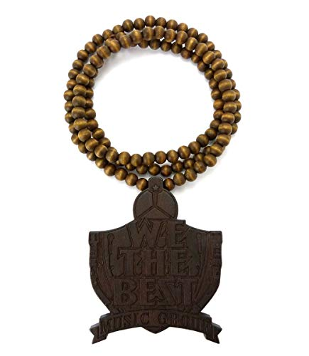 """NYFASHION101 We The Best Wood Pendant with 36"""" Wooden Bead Necklace, Brown-Tone"""