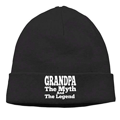 Grandpa The Man The Myth The Legend 2 Knit Cap Beanie Skull for Mens Black