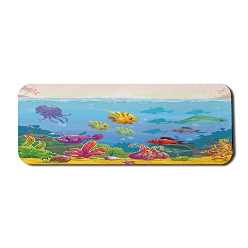 Aquarium Computer Mouse Pad, lustige Unterwasser-Landschaft im Cartoon-Stil mit verschiedenen Tieren und Schatztruhe, rechteckiges, rutschfestes Gummi-Mauspad, groß, mehrfarbig