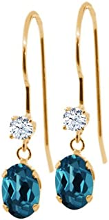 Gem Stone King 1.26 Ct Oval London Blue Topaz and White Topaz 14K Yellow Gold Earrings