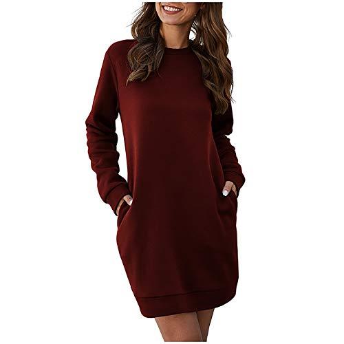 VCTKLN Vestido con capucha para mujer, para otoño, color sólido, manga larga, holgado, básico, de manga larga, Vino, L