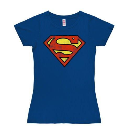 Logoshirt Damen Superman - Logo T-Shirt, Blau (Azurblau), M