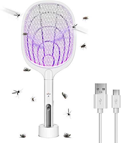 Matamoscas eléctrico, 2 en 1, 3000 V, USB, recargable, eléctrico, con base de carga, matamoscas eléctrico, matamoscas para mosquitos (blanco02)