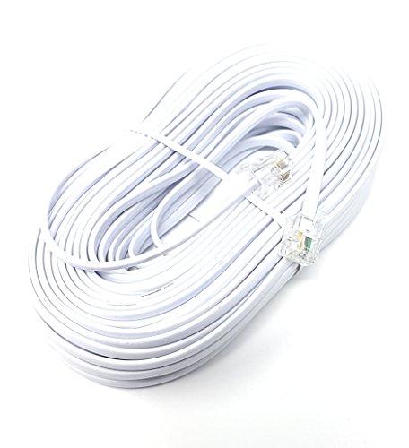 ADSL-Hochgeschwindigkeits-Breitbandmodem-Kabel, RJ11auf RJ11, lang und flach, weiß(erhältlich in 1m, 2m, 3m, 5m, 10m, 15m, 20m, 30m) 20m weiß