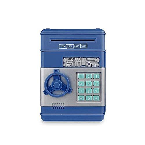 QWEA - Cerradura electrónica con código de Hucha para niños, Juguete para bebés, Mini cajero automático, Caja Fuerte para Monedas, Caja de Ahorro de Dinero Real con contraseña, desplazamient
