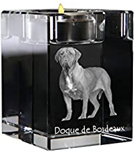 Dogue de Bordeaux, Crystal Candlestick, Candle Holder with Dog, Souvenir, Limited Edition