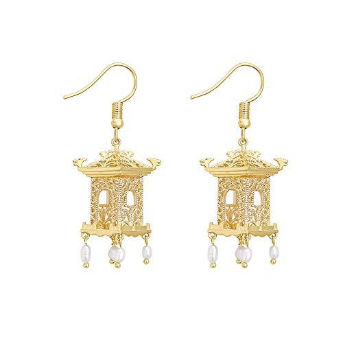 Tinte-Und-Tinte-Pavillon Romantische Jiangnan-Ohrringe Elegante Schicke Perlenfluss-Su-Ohr-Dekoration Feengeschnittene Ohrringe