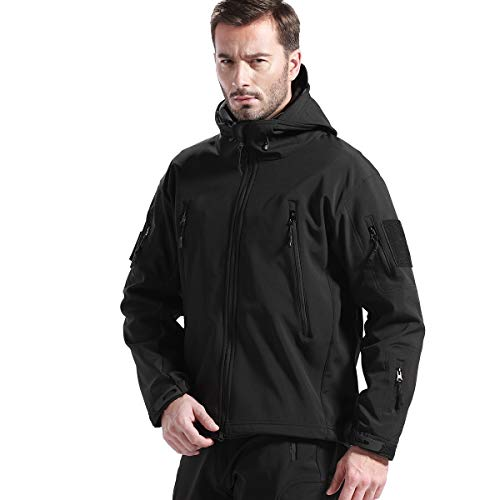 FREE SOLDIER Men's Fleece Lined Softshell Tactical Jacket Breathable Water Resistant Windproof Jacket Winter Snowboarding Skiing Hooded Jacket (Black Large/US)