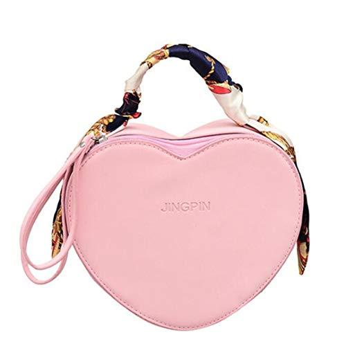 Heart Shaped Schoudertas voor dames, PU-leer, schoudertas voor meisjes, chique handtas met sjaal handvat, roze (roze) - 5023652897403