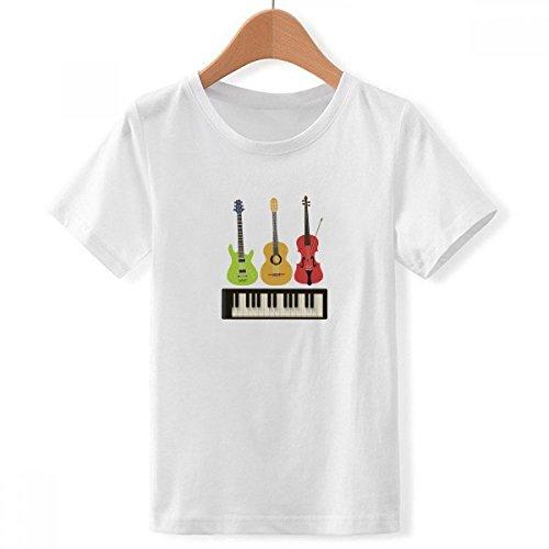 DIY thinker jongens gitaar viool piano combinatie patroon ronde hals wit T-shirt
