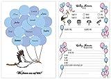 Davom Babyparty Junge Gästebuch und 26 Ratespiel Tippkarten – EIN Babyshower Set