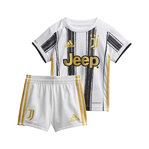 adidas Juventus FC Stagione 2020/21 Juve H Baby Minicompleto Baby Prima Divisa Unisex Adulto, Unisex - Adulto, Mini Set per la Prima Partita, EI9895, Bianco/Nero, 86
