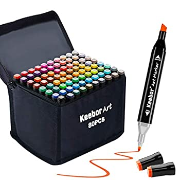 Keebor Premium 80+1 Colors Dual Tip Alcohol Art Markers Plus 1 Blender Marker with Thick Packing General Markers for Fine Arts Academy