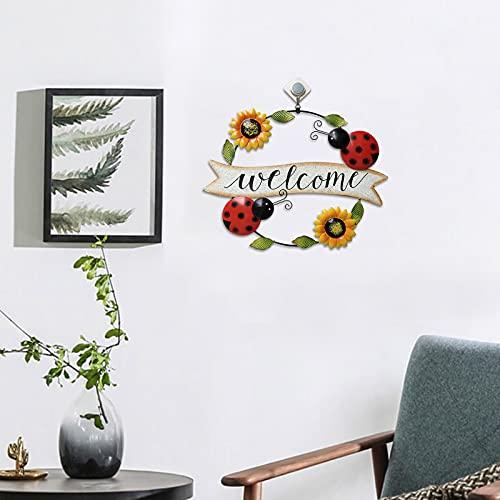 Ogród znak powitalny dekoracja ścienna, metalowa wisząca duża ściana wisząca rzeźba kolorowa żelazna pszczoła i biedronka wzór kwiatowa ozdoba do dekoracji domu ogrodu (A)