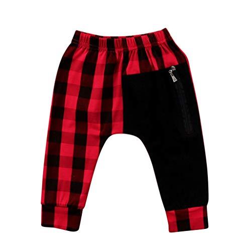 BUKINIE-Bébé Garçon Jogging Skinny Chino Pantalon Décontracté À Carreaux Imprimé Longue Course Pantalon De Sport Pantalon pour Petits Garçons(Rouge,2-3 Ans)