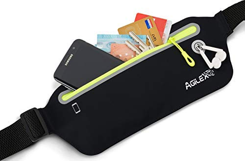 AGILEX Sport Hüfttasche Bauchtasche Gürteltasche Flach Wasserdicht Laufgürtel Lauftasche Mit Kopfhörerloch Für Laufen Wandern Alle Smartphone Bis 6.5 Zoll Black/Neon