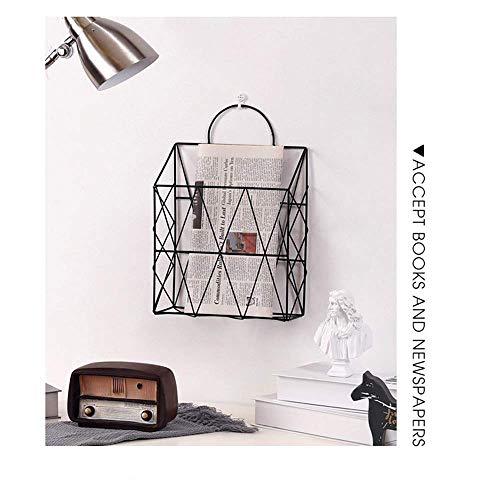 LUNAH Nordic iron home storage magazine newspaper storage rack wall-mounted home decoration office debris storage rack, gold/black