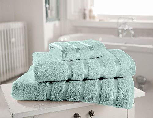SELECT-ED Juego de 4 toallas absorbentes de satén KENSINGTON 100% algodón egipcio, 3 toallas absorbentes