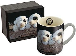 "LANG - 14 oz. Ceramic Coffee Mug -""Puppies"", Artwork by Jim Lamb - White and Black Puppies"