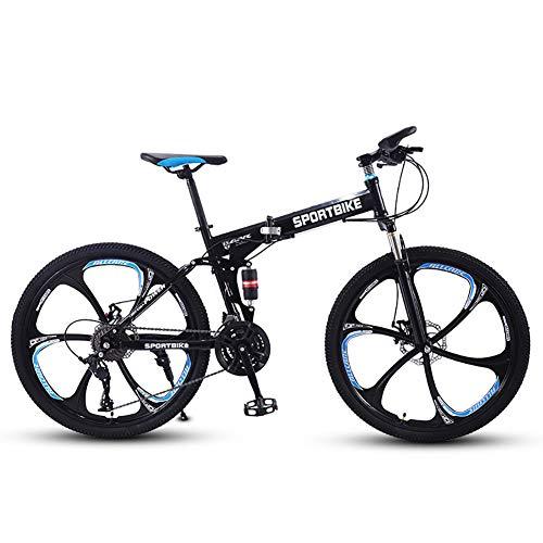 SCYDAO Falten Mountain Bike 26 Zoll, 21/24/27 Geschwindigkeit Vollgefederten Doppelscheibenbremse Carbon-Stahlrahmen MTB Fahrrad Mit Kotflügel, Kann Abschließbare Gabel,Schwarz,24 Speed