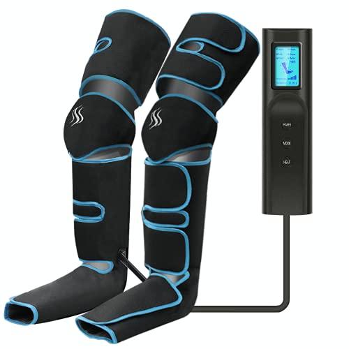 Masajeador de piernas, compresión de aire para piernas con controlador de mano 6 modos 3 intensidades, masajeador de piernas y pies recargable por USB para masaje de pantorrillas/pies/muslos ⭐