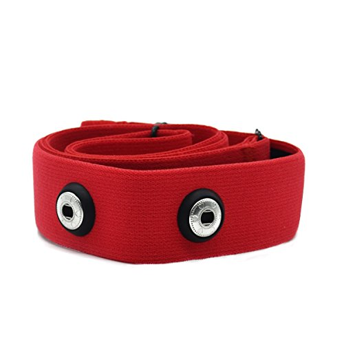 Elastic Sport Heart Rate Monitor Adjustable Chest Mount Belt Strap Bands Fitness Equipment for Garmin Wahoo Polar (Rojo)
