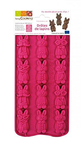 SCRAP COOKING 6731 Moule Choco Drôles de Lapins, Silicone, Rose, 25 x 11 x 1,5 cm