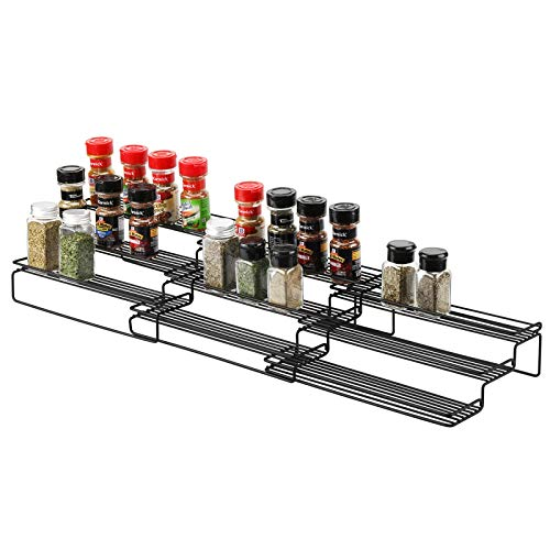 X-Chef Expandable Spice Rack for Cabinet, 3 Tier Spice Organizer for Cabinet Kitchen Pantry Countertop, 12.6