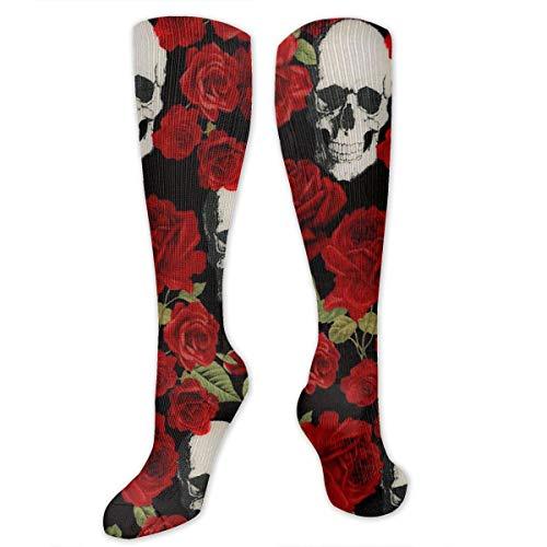 Best Athletic Compression Socks for Women & Men - Fat Quarter Skulls and Red Roses Gothic Print Medical Knee High Tube Socks - Long Stockings for Travel/Running/Flying