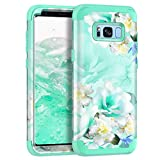 Casetego Compatible with Galaxy S8 Case,Floral Three Layer Heavy Duty Hybrid Sturdy Shockproof Full Body Protective Cover Case for Samsung Galaxy S8,Green/White