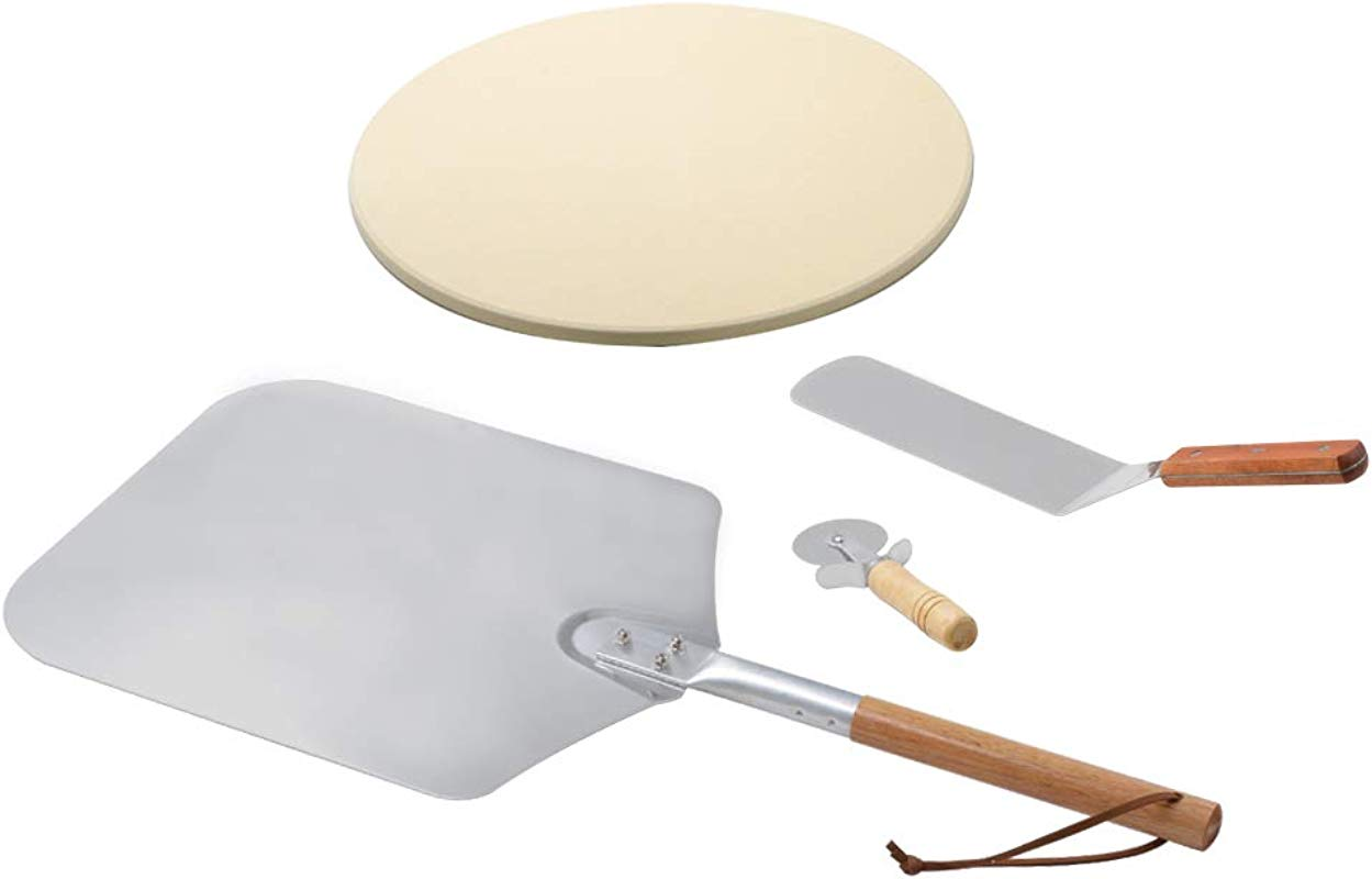 Onlyfire Pizza Peel Kits For Any Oven Or Grill Wooden Handle Pizza Peel Pizza Stone Pizza Cutter And Pizza Shovel 4 Packs