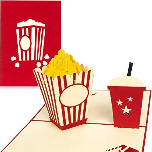 PaperCrush® Pop-Up Karte Kino Gutschein - 3D Gutscheinkarte als Verpackung für Kinogutschein, Geschenkidee zum Geburtstag oder Hochzeitstag - Handgemachte Geburtstagskarte mit Popcorn inkl. Umschlag