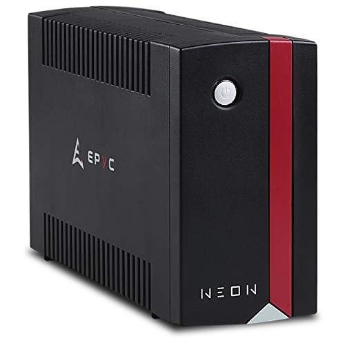 EPYC Neon UPS, Gruppo di Continuità per PC, Potenza 1000VA 600Watt, Tecnologia Line Interactive, AVR, Nero