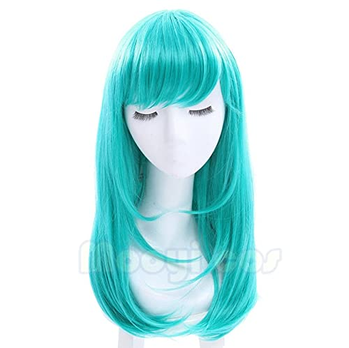 Dragon Ball Bulma Wig 45Cm Medium Long Straight Synthetic Hair For Women Girl Costume Party F Wig Green Japanese Anime Bulma