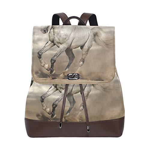 DEZIRO witte schoonheid paard schooltas rugzak