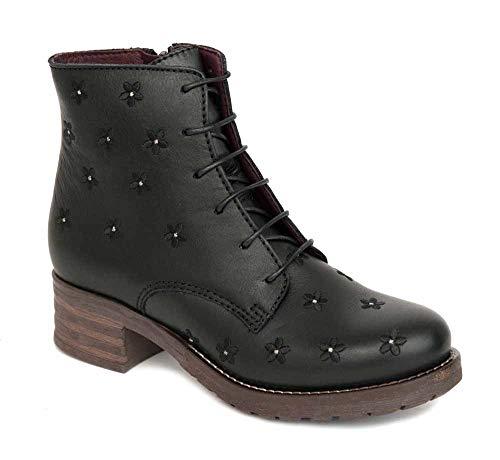 Brako Stiefeletten Boots 8437 Planet Negro Military Leder Blumen schwarz (39 EU)