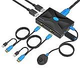 Conmutador KVM HDMI 2 puertos w/Control, MT-HK02 USB KVM Switcher Box Selector con 2 cables KVM 2 en 1 4K×2K @30Hz