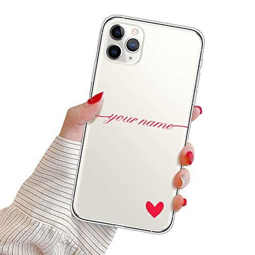 Suhctup Funda Personaliza Compatible con iPhone 6 Plus/6S Plus Carcasa de Silicona con Amor y Texto Personablizable TPU Ultrafina Suave Transparente Antigolpes Proteccion Caso(Roja)